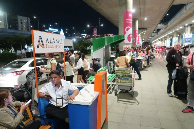 Grab Taxi Stand in Manila